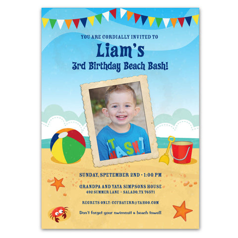 Beach Birthday Invitations (A)