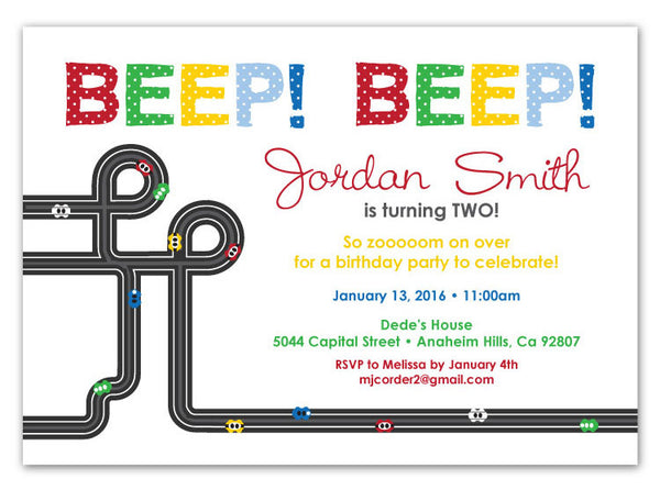 Modern Race Cars Party Invitations