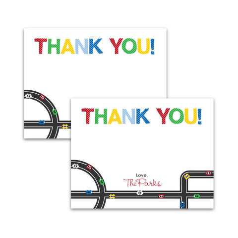 Modern Race Cars Thank You Notecards