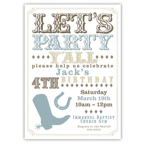 Boots & Horseshoes Invitations (Blue)