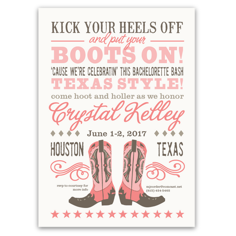 Cowboy Boots Bachelorette Party Invitation (pink/brown)