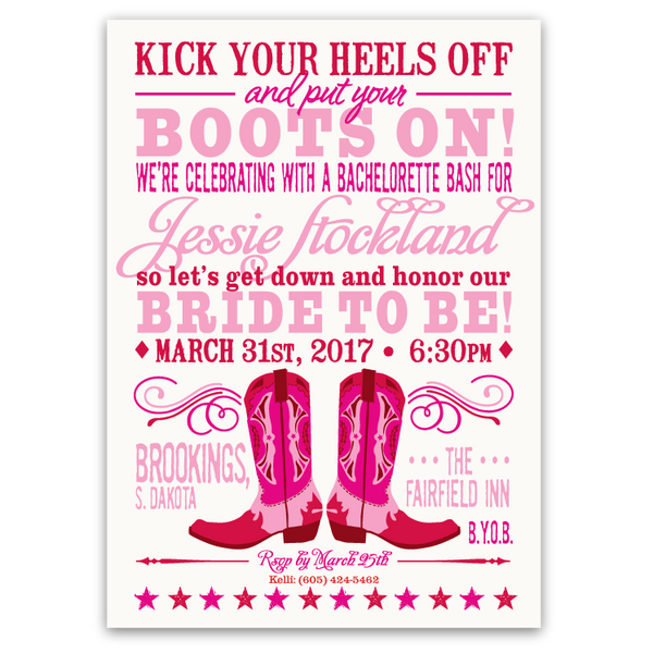 Cowboy Boots Bachelorette Party Invitation (pink/red)