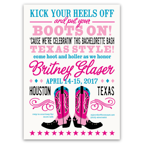 Cowboy Boots Bachelorette Party Invitation (pink/teal)