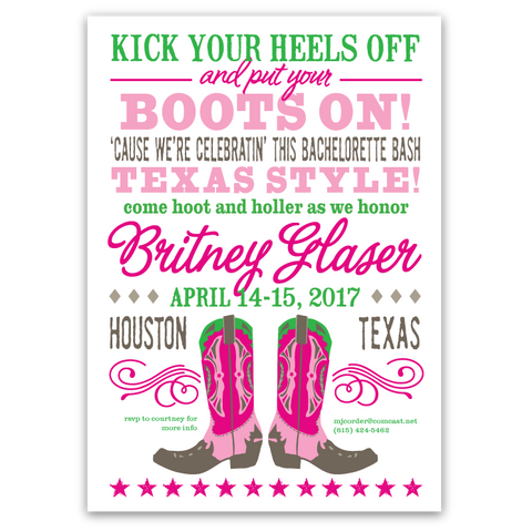 Cowboy Boots Bachelorette Party Invitation (pink/green)