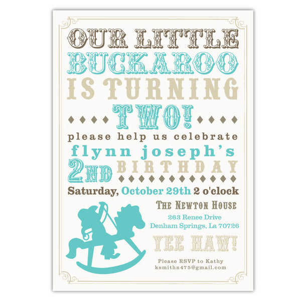 Buckaroo Cowboy Invitations (Blue)