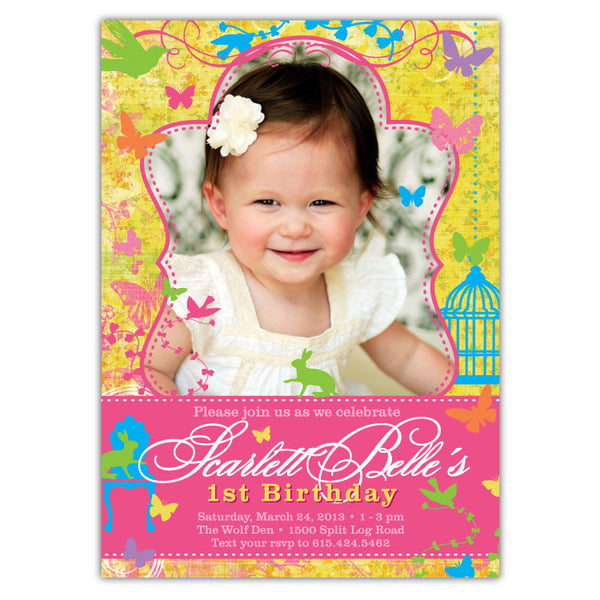 Butterfly Garden Photo Birthday Invitations