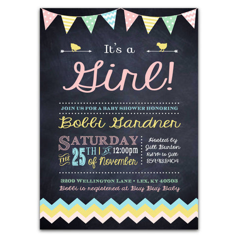 Chalkboard & Bunting Baby Shower Invitations (girl)