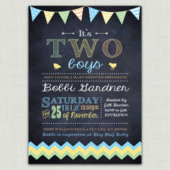 Chalkboard & Bunting Baby Shower Invitations (boy)