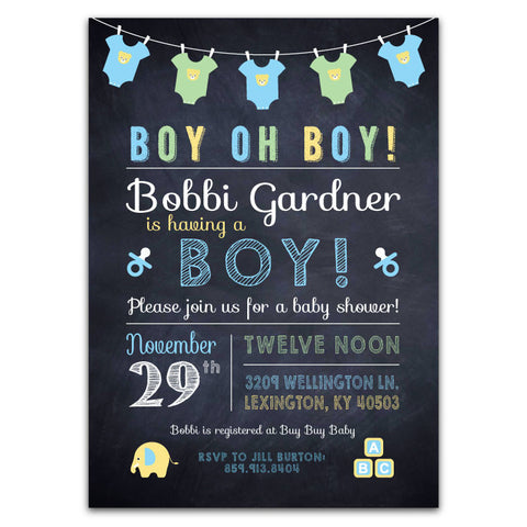 Chalkboard & Onesies Baby Shower Invitations (boy)