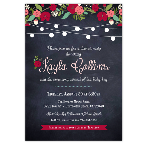 Chalkboard Floral Baby Shower Invitations (red)