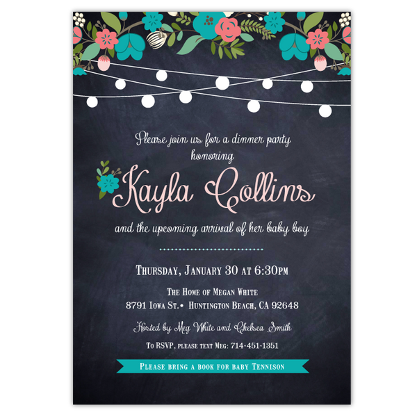 Chalkboard Floral Baby Shower Invitations (teal)