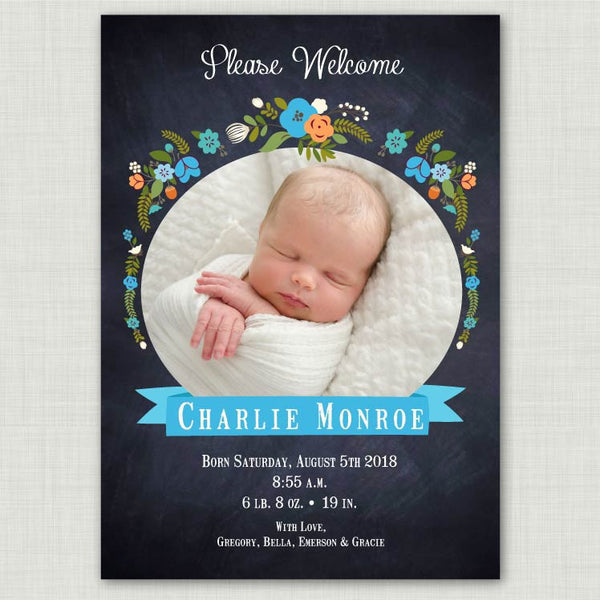Chalkboard Floral Baby Announcement (boy)