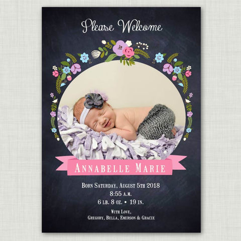 Chalkboard Floral Baby Announcement (girl)