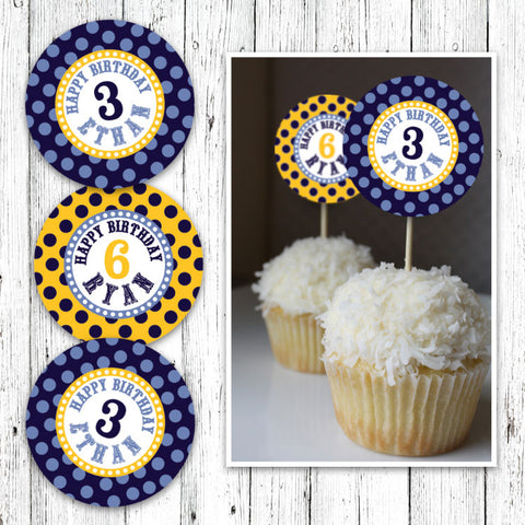 Chevron Cowboys Cupcake Toppers