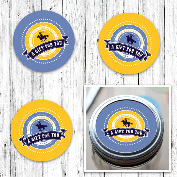 Chevron Cowboys Jar Labels