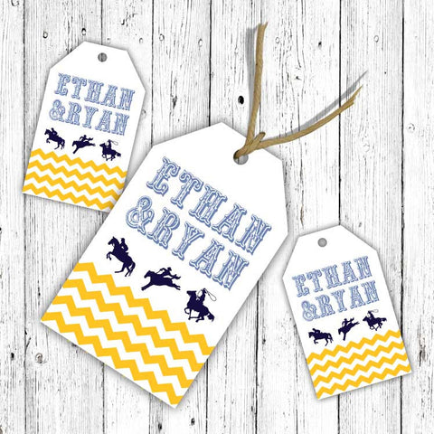 Chevron Cowboys Luggage Tags