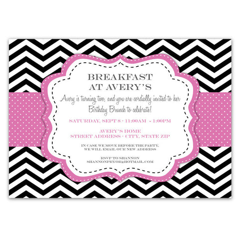 Chevron & Dots Invitations (Pink)