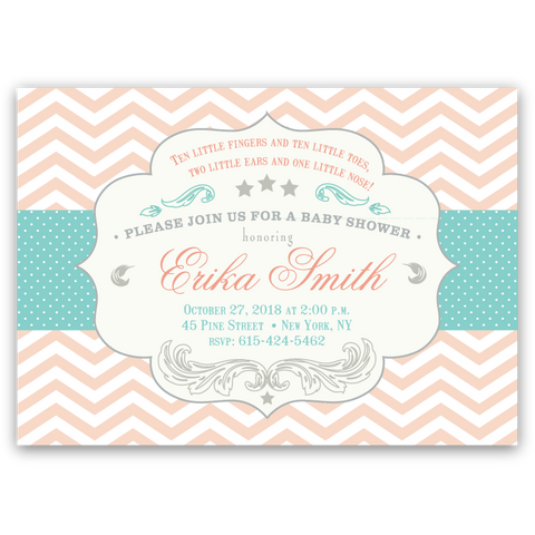 Elegant Chevron Baby Shower Invitations