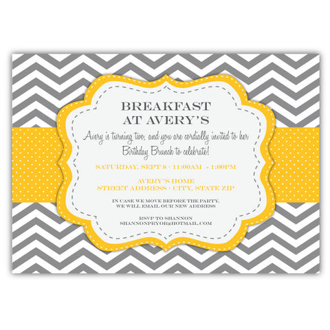 Chevron & Dots Invitations (Yellow)