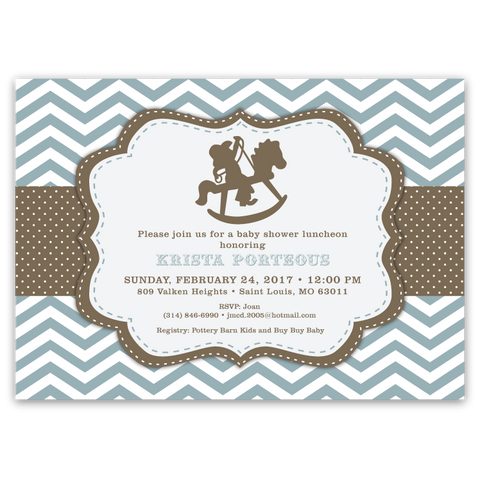 Rocking Horse Chevron Baby Shower Invitations