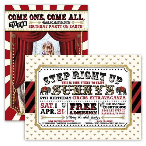 Circus Glitter Party Invitations
