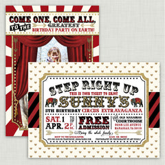 Circus Glitter Party Invitations (backside)