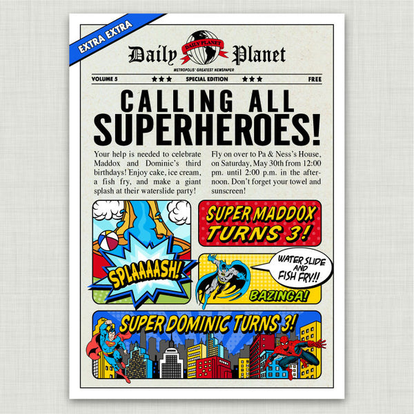 Comic Book Superheroes Birthday Invitations