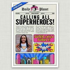 Comic Book Superhero Birthday Invitations (Red)