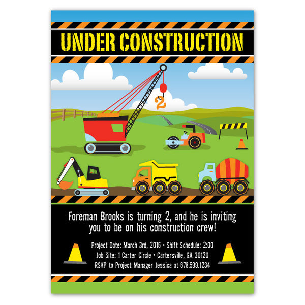 Construction Site Birthday Invitations