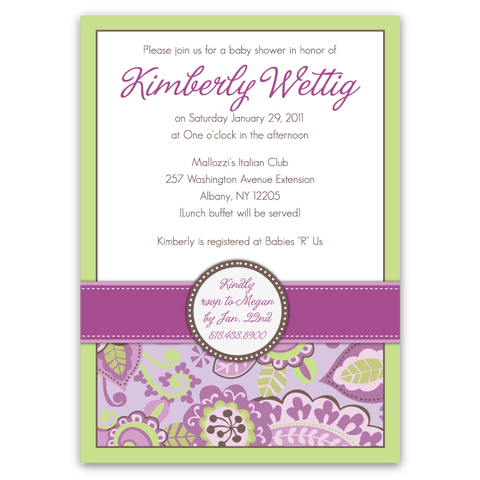 Country Club Paisley Baby Shower Invitations
