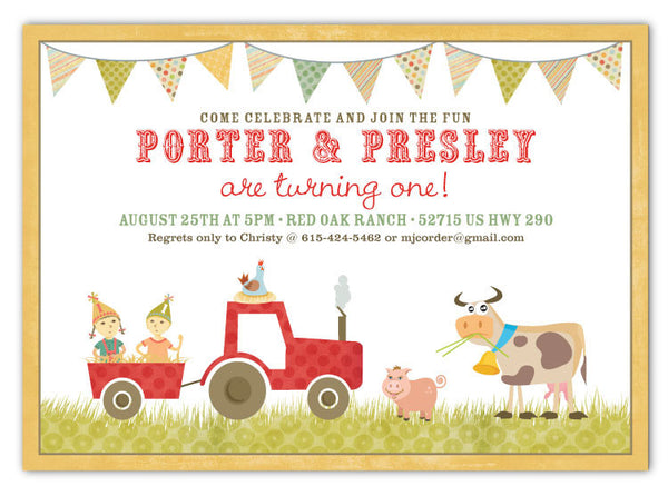 Country Farm Party Invitations