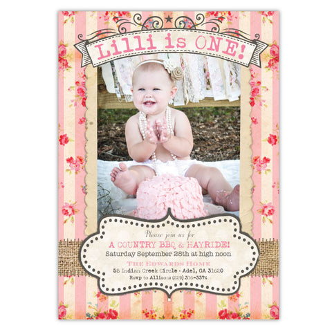 Country Roses Birthday Invitations