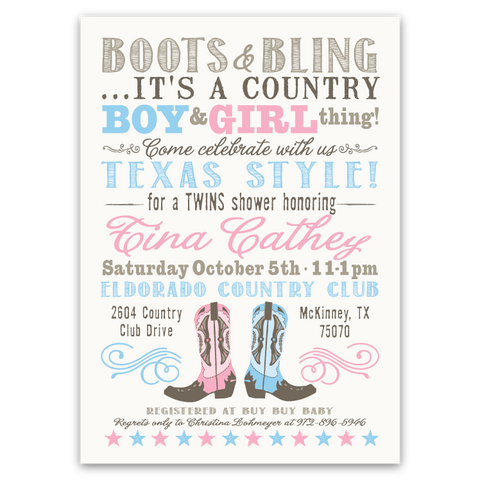 Cowboy Boots Twins Baby Shower Invitation