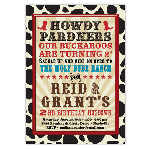 Cowboy Ranch Invitations (Red)