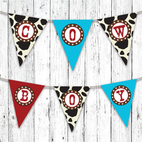 Cowboy Ranch Pennant Party Banner