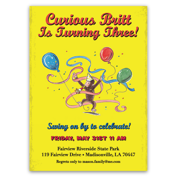 Curious George Birthday Invitations (yellow)