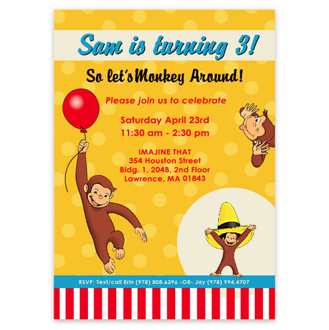 Curious George Birthday Invitations (stripes)