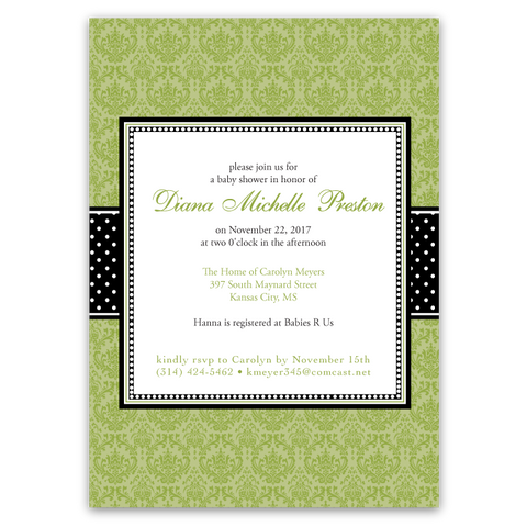Damask Ribbon Baby Shower Invitations