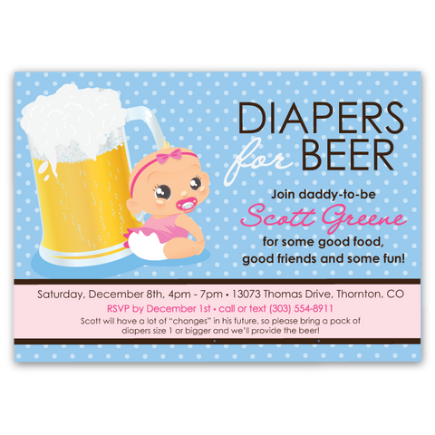 Diapers for Beer Baby Shower Invitations (girl)