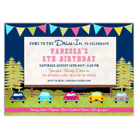 Drive-in Movie Birthday Invitations (B)