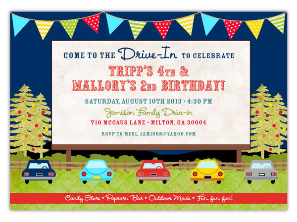 Drive-in Movie Birthday Invitations (A)