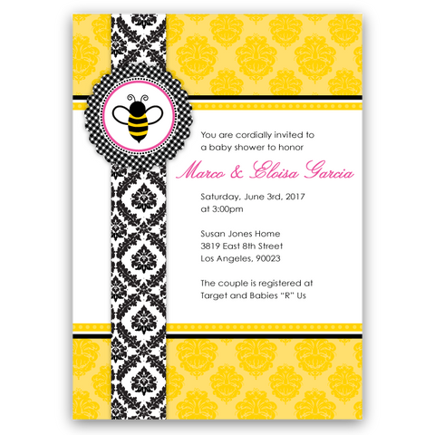 Fancy Bee Baby Shower Invitations