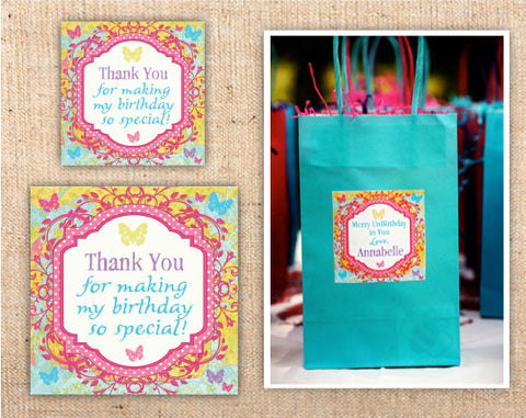 Whimsical Wonderland Square Party Favor Tags