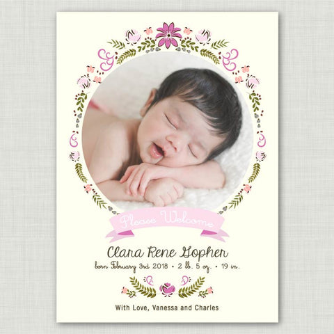 Floral Frame Baby Announcement (girl)