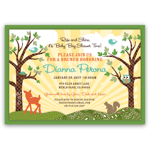 Forest Animals Baby Shower Invitations