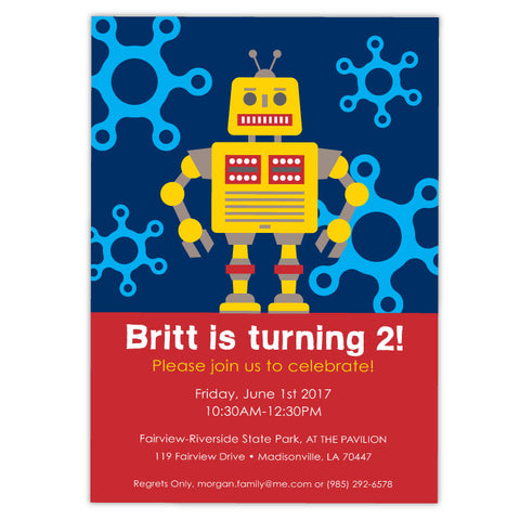 Funky Robot Birthday Invitations (A)