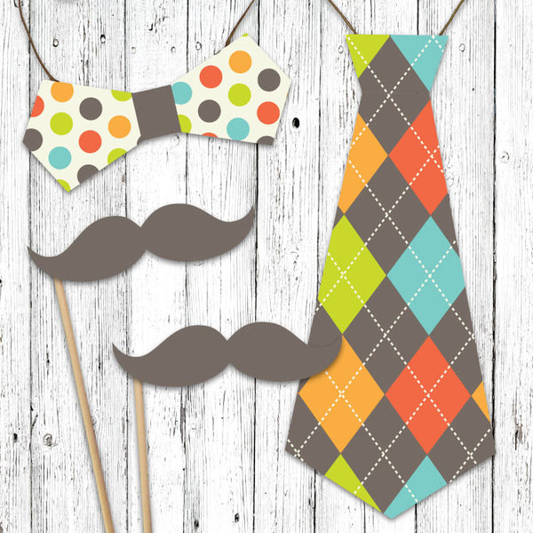 Gentlemans Party Mustache and Bow Tie Cut Outs