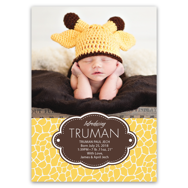 Giraffe Print Baby Announcements (yellow)