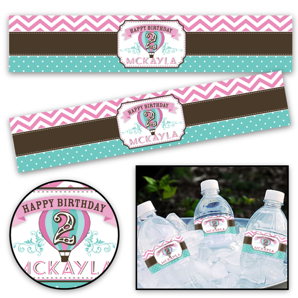 Hot Air Balloon (pink and teal) Printable Bottle Labels
