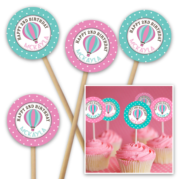 Hot Air Balloon (pink and teal) Printable Cupcake Toppers